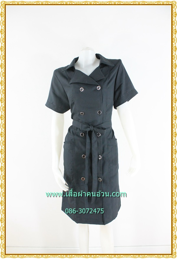 3217ชุดทํางานคนอ้วนสีดำ เสื้อผ้าคนอ้วนปกฮาวายสไตล์คล่องตัว กระฉับกระเฉง กระดุมหน้าสวมใส่ง่ายสไตล์โค้ทรับลมหนาว