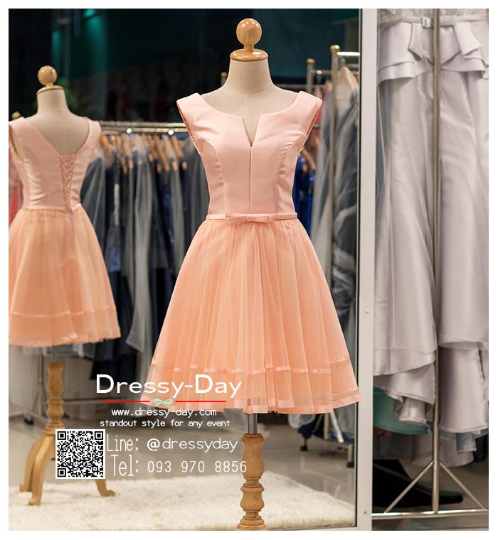 รหัส ชุดราตรีสั้น :BB046 มีชุดราตรีสวย สีโอรส ชุดไปงานแต่งสั้น เหมาะใส่งานหมั้น งานเช้า หรู พร้อมส่งเยอะสุดในไทย เนื้อผ้าพรีเมี่ยม คัตติ้งเนี๊ยบๆ