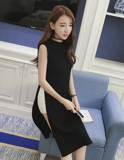 เสื้อแฟชั่นตัวยาวผ่าข้างสูงสองข้าง คอกลม แขนกุดสวยหวานสไตล์เกาหลี รหัส 1685-สีดำ
