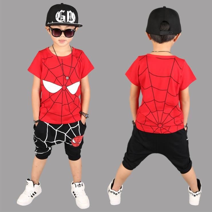 ชุดเซ็ต เสื้อสไปเดอร์แมนสีแดง+กางเกงสีดำ