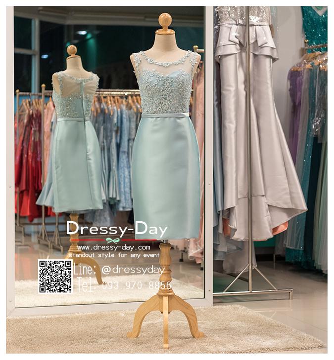 รหัส ชุดราตรี :PFS039 ชุดแซกผ้าลูกไม้งานสวยตกแต่งกริตเตอร์ ชุดราตรีสั้นหรูสีฟ้า สวย สง่า ดูดีแบบเจ้าหญิง ใส่เป็นชุดไปงานแต่งงาน งานกาล่าดินเนอร์ งานเลี้ยง งานพรอม งานรับกระบี่