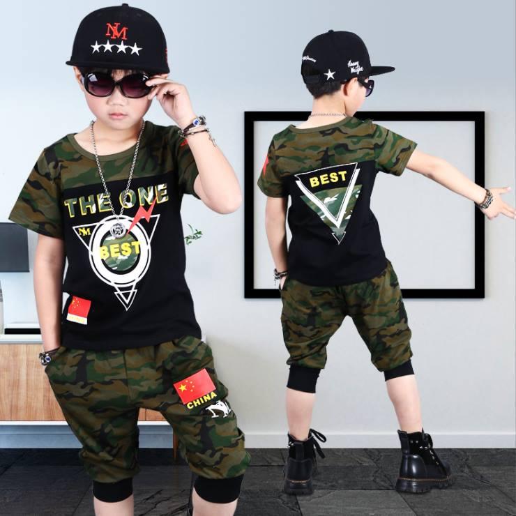 ชุดเซ็ต เสื้อ+กางเกงสีฟ้า ลายทหาร