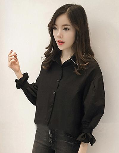 เสื้อแฟชั่นคอปก สไตล์เกาหลี-1596-สีดำ