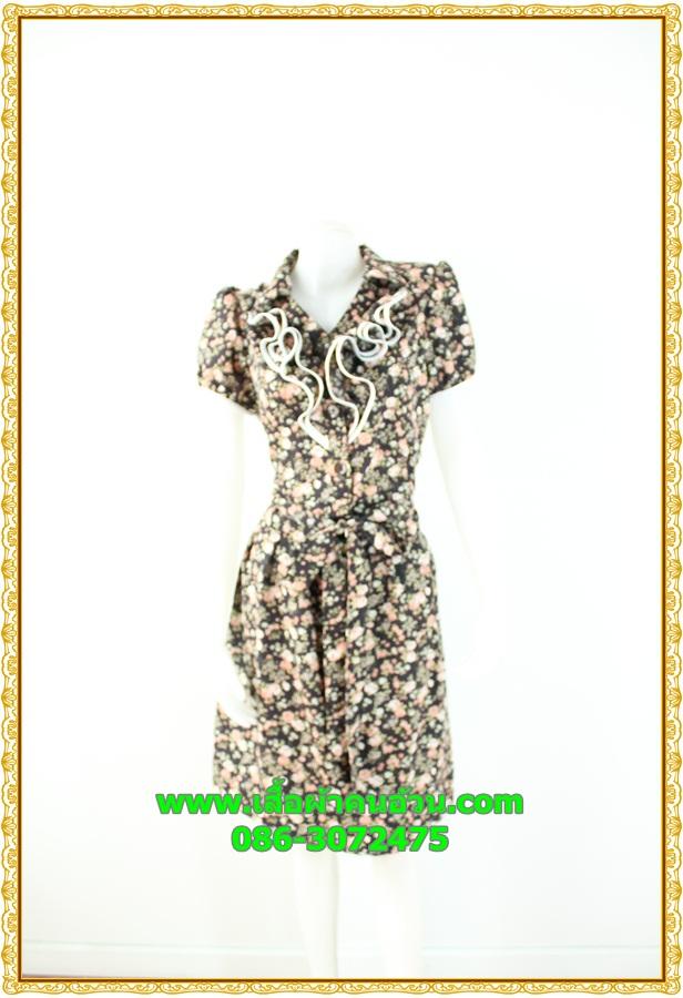 2884เสื้อผ้าคนอ้วน ชุดทำงานคอพวงระบาย ชุดแต่งโปรงจีบรอบเอวลายดอกไทยๆสไตล์หวานน่ารักแขนตุ๊กตาเดินกุ๊นขาวเพิ่มความสะดุดตาเบรคลายอย่างลงตัว