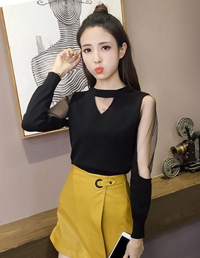 เสื้อไหมพรมแฟชั่น แต่งแขนส่วนบนด้วยผ้าตาข่ายนุ่ม-1509-สีดำ