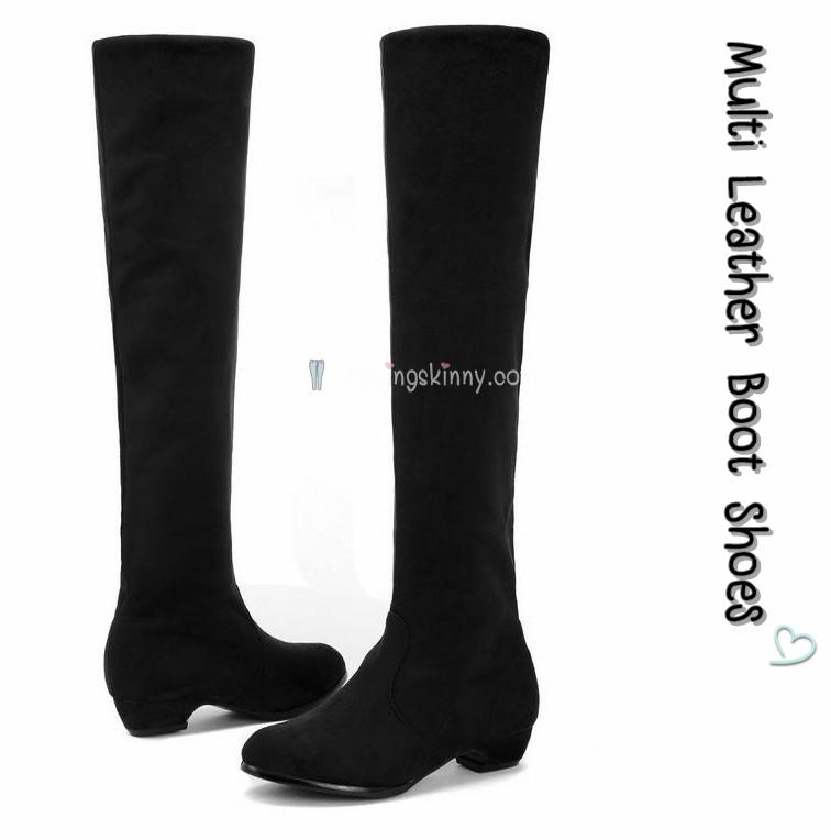 รองเท้าบูทยาวหนังนิ่มมัลติฟังก์ชั่นส้นเตี้ย Multi Leather Boot Shoes