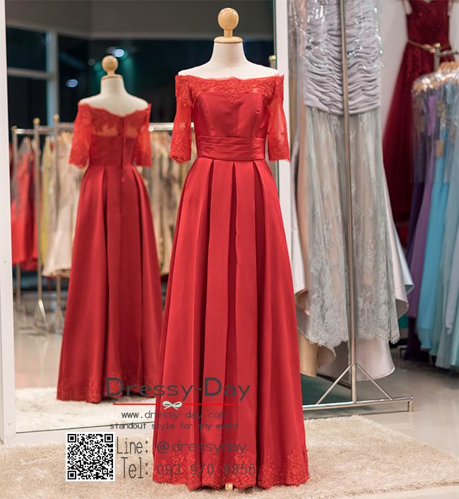 รหัส ชุดไปงานแต่งงาน : PF161 ชุดราตรียาว แบบมีแขน โอบไหล่ เปิดไหล่ สีแดง ผ้าไหมปักลูกไม้ สวยหรูดูดีแบบเจ้าหญิง ใส่ไปงานแต่งงานกลางคืน งานกาล่าดินเนอร์ ชุดงานเลี้ยง ชุดพิธีกร งานพรอม งานบายเนียร์ งานเดินพรหมแดง ถ่ายพรีเวดดิ้ง สวยมาก
