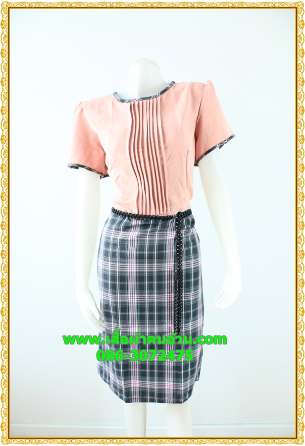 3081ชุดทํางาน เสื้อผ้าคนอ้วนสีส้มกระโปรงลายสก็อตคอกลมแต่งเกล็ดด้านหน้าคลาสสิคสวมใส่ได้หลายโอกาส
