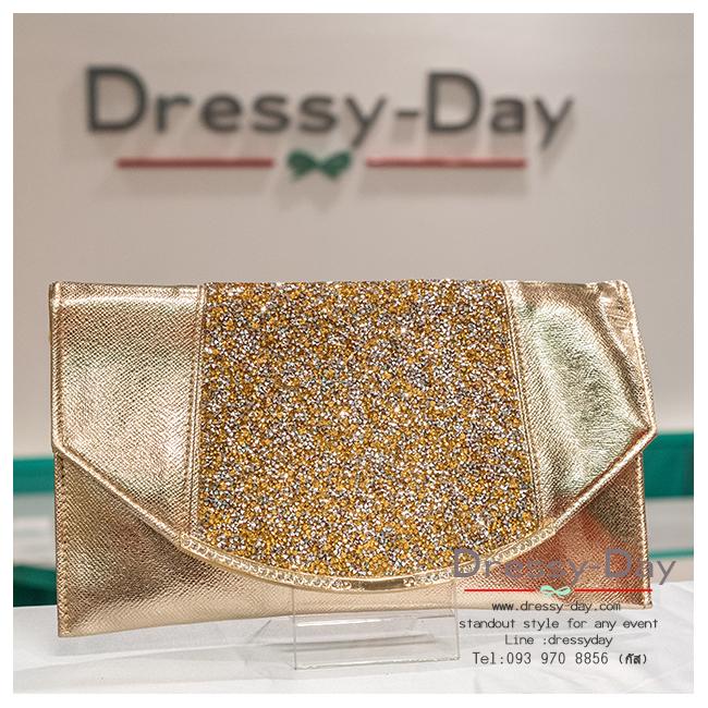 กระเป๋าออกงาน TE024: กระเป๋าออกงานพร้อมส่ง สีทอง ดีเทลเพชร สวยหรูที่สุด ราคาถูกกว่าห้าง ถือออกงาน หรือ สะพายออกงาน สวย หรู ดูดีมากค่ะ