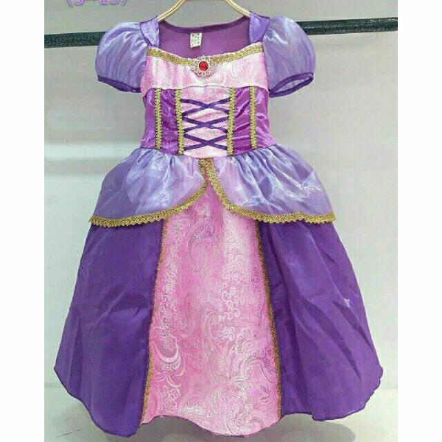 ชุดเด็ก : ชุดเดรสราพันเซล สีม่วงยาว