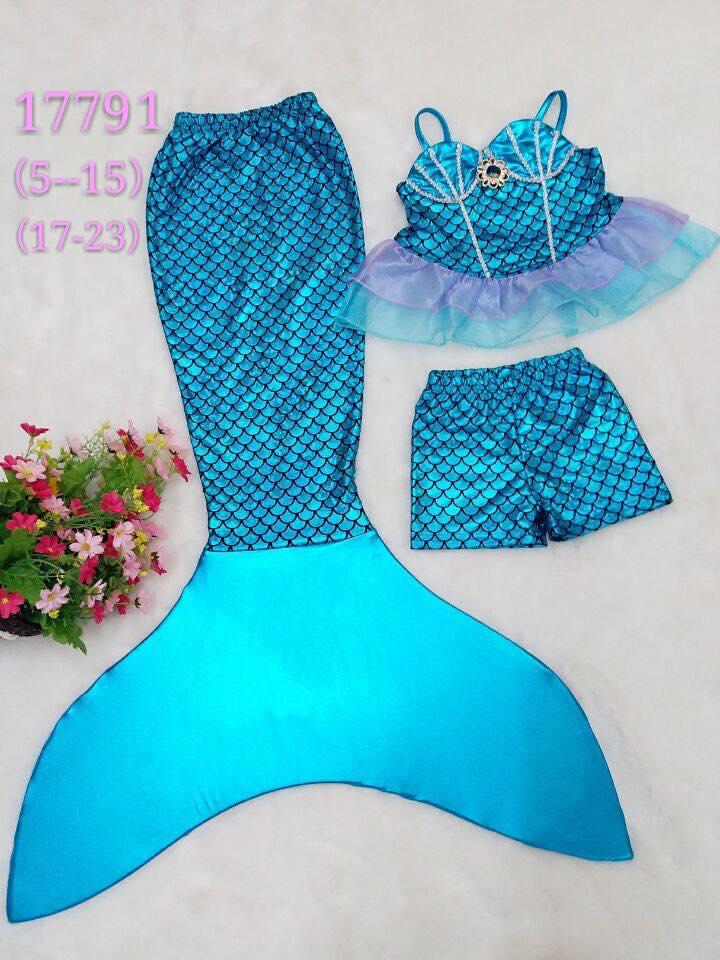 ชุดว่ายน้ำ นางนางเงือก เซ็ต 3 ชิ้น สีฟ้า