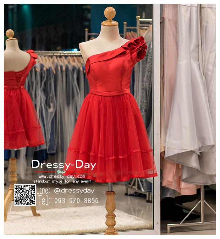 รหัส ชุดราตรีสั้น :BB047 มีชุดราตรีสวย สีแดง ชุดไปงานแต่งสั้น เหมาะใส่งานหมั้น งานเช้า หรู พร้อมส่งเยอะสุดในไทย เนื้อผ้าพรีเมี่ยม คัตติ้งเนี๊ยบๆ ไหล่เดียว