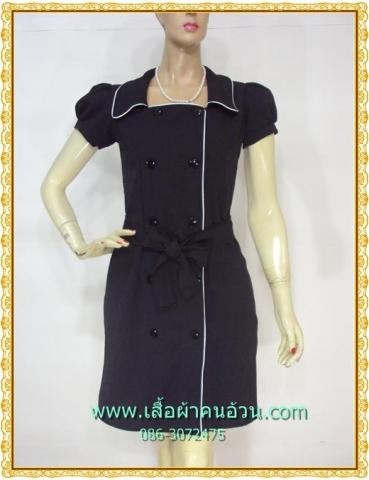 2186เสื้อผ้าคนอ้วน ชุดทำงานดำผ้าฮานาโกะ คอเหลี่ยมปกปีกนก กระดุมคู่ แขนตุ๊กตากุ๊นขาวยาวด้านหน้ามีระดับสไตล์ออริจินัลคลาสสิค