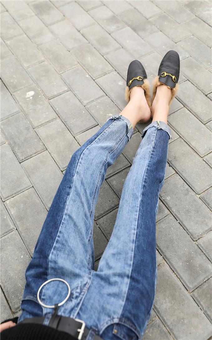 กางเกงยีนส์ แท้ ทรงกึ่งบอลลูนแต่งสองสีเข้มกับสีอ่อน ปลายขาตัดเฉลียง