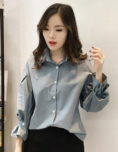 เสื้อแฟชั่นคอปก สไตล์เกาหลี-1596-สีฟ้าน้ำทะเล