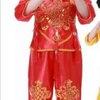 ชุดฮ่องเต้เด็กชาย เสื้อ+กางเกงขลิบเหลือง สีแดง
