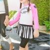 ชุดว่ายน้ำเด็ก : ชุดเซ็ตว่ายน้ำ เสื้อแขนยาว สีชมพู +กางเกงกระโปรงสีดำลาย