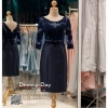 รหัส ชุดราตรี : PFS047 ชุดแซกมีแขน ชุดราตรีสั้นหรูสีน้ำเงิน สวย สง่า ดูดีแบบเจ้าหญิง ใส่เป็นชุดงานเช้า ชุดไปงานแต่งงาน งานกาล่าดินเนอร์ งานเลี้ยง งานพรอม งานรับกระบี่