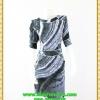 2897เสื้อผ้าคนอ้วน ชุดแซกทำงานผ้าวาเลนติโน่สไตล์เรียบหรูผู้ดีเล่นลายกราฟฟิคเพิ่มเชฟไหล่และเอวทรงนาฬิกาทราย