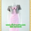 1985เสื้อผ้าคนอ้วน ชุดทำงานคอกลมสีชมพูแต่งกั๊กลายตารางสไตล์เกาหลีสวมใส่ทำงานน่ารักสะดุดตา