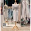 รหัส ชุดราตรี : PFS047 ชุดแซกมีแขน ชุดราตรีสั้นหรูสีเทา สวย สง่า ดูดีแบบเจ้าหญิง ใส่เป็นชุดงานเช้า ชุดไปงานแต่งงาน งานกาล่าดินเนอร์ งานเลี้ยง งานพรอม งานรับกระบี่