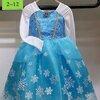 ชุดเด็ก : เดรสเจ้าหญิงโฟเซ่นสีฟ้า แขนยาว แขนสีขาว