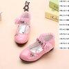 รองเท้าคัชชูหนังแก้ว ติดกุหลาบ สีชมพู โอรส