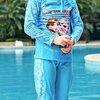 ชุดว่ายน้ำเด็ก : ชุดเซ็ตว่ายน้ำ แขนยาว โฟเซ่นสีฟ้า+กางเกงขายาว +หมวก