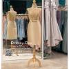 รหัส ชุดราตรี :PFS028 ชุดแซกผ้าลูกไม้งานสวยตกแต่งลูกไม้กริตเตอร์ ชุดราตรีสั้นหรูสีทอง สวย สง่า ดูดีแบบเจ้าหญิง ใส่เป็นชุดไปงานแต่งงาน งานกาล่าดินเนอร์ งานเลี้ยง งานพรอม งานรับกระบี่