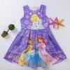 ชุดเด็ก : เดรสแขนกุด เหล่าเจ้าหญิง สีม่วง ผ้าพิมพ์ลายในตัว