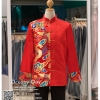 รหัส เสื้อจีนชาย : KPM007 เสื้อจีนชาย พร้อมส่ง ชุดจีนชาย โบราณ สีแดง งานทอไหมแดงทองน้ำเงิน ใส่ในพิธียกน้ำชา ถ่ายพรีเวดดิ้ง และสำหรับญาติเจ้าภาพ เท่ห์มาก