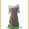 2893เสื้อผ้าคนอ้วน ชุดออกงานปูลูกไม้โปร่งบริเวณหน้าอกแต่งแขนโปร่งสไตล์หรูหวานซ่อนเปรี้ยวสไตล์ออกงาน