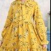 เดรสแขนยาว ลายดอก สีเหลือง