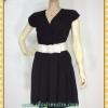 1440เสื้อผ้าคนอ้วน เสื้อผ้าแฟชั่นผ้าวาเลนติโน่ดำหรูมั่นใจสไตล์เรียบตีเกล็ดไขว์กลางอกยาวพาดด้านหน้าพรางรูปร่างเรียวบาง เกล็ด4ชั้นซ้ายขวาหรูมีระดับ แขนล้ำ ผูกโบเอว