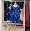 รหัส ชุดราตรี :AK127 ชุดแซกผ้าลูกไม้งานสวย ชุดราตรีสั้นหรูสีน้ำเงินมาพร้อมเข็มขัด สวย สง่า ดูดีแบบเจ้าหญิง ใส่ไปงานแต่งงาน งานกาล่าดินเนอร์ งานเลี้ยง งานพรอม งานรับกระบี่
