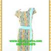 2617ชุดทํางาน เสื้อผ้าคนอ้วนลายเพ้นท์คอกลมแต่งแถบสีข้างเอวสวยหวานเบรคลายด้วยสีเขียวเรียบๆหรูอินเทรนด์
