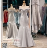 รหัส ชุดราตรียาว : PF052 - 4 ชุดแซก ชุดราตรีชุดไปงานแต่ง after party สีเทา แบบเปิดไหล่ ชุดยาวสุดหรูเหมาะใส่ออกงานกลางคืน งานแต่งงาน