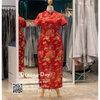 รหัส ชุดกี่เพ้ายาว : KPL089 ชุดกี่เพ้าประยุกต์ราคาถูกลายนกยูง ชุดกี่เพ้าสวยๆ สีแดง ผ้าทอดิ้นทอง สวยๆ กระโปรงผ่าข้าง ใส่เป็นชุดกี่เพ้าแต่งงานก็สวยคะ มีแขน