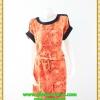 2854เสื้อผ้าคนอ้วน เสื้อผ้าแฟชั่นคอกลมสีส้มแขนเบิ้ลจั๊มเอวรูดกระแทกหน้าท้องพรางรูปร่างส่วนเกินสวมใส่สบาย