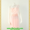 2895เสื้อผ้าคนอ้วน ชุดออกงานผ้าลูกไม้คลุมด้วยผ้าชีฟองโปร่งสีโอรสพาดไหล่ข้างเดียวสไตล์ออกงานโรงแรมหรู
