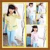 ชุดเด็ก : เสื้อเชิ๊ตแขนยาวสีขาว ติดกระดุมหน้า สีเหลือง,สีชมพู