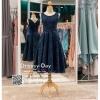 รหัส ชุดราตรี :PFS021 ชุดแซกผ้าลูกไม้งานสวย ชุดราตรีสั้นหรูสีน้าเงินตกแต่งกริตเตอร์ช่วงเอว สวย สง่า ดูดีแบบเจ้าหญิง ใส่ไปงานแต่งงาน งานกาล่าดินเนอร์ งานเลี้ยง งานพรอม งานรับกระบี่