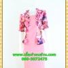 2372ชุดทํางาน เสื้อผ้าคนอ้วนสีชมพูลายกุหลาบมีชุดเกาะอกด้านใน ตัวนอกคลุมลายระบายคอสไตล์เลิศหรูมีระดับ