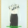 2896เสื้อผ้าคนอ้วน ชุดทำงานแต่งลายดอกเล่นระดับ คอจีนระบาย2ข้างแขนคร่อมกระโปรงทรงดินสอสวยเด่นแบบสาวเนี๊ยบ โฉบเฉี่ยว มั่นใจสไตล์สาวมั่น