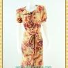 2057ชุดทํางาน เสื้อผ้าคนอ้วนคอบัวผ้าพิมพ์ลายกระโปรงยาวทรงย้วยสวยหวานด้วยสไตล์หวานเรียบร้อย