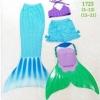 ชุดว่ายน้ำ หางนางเงือก เซ็ต 4 ชิ้น เสื้อ+กางเกง+หาง+ฟิน สีฟ้า