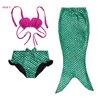 ชุดว่ายน้ำ เซ็ตหางนางเงือก 3 ชิ้น สีเขียว
