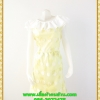 2894 เสื้อผ้าคนอ้วน ชุดเดรสออกงาน สไตล์ย้อนยุคสีมะนาวลายจุดแต่งปกโดดเด่นระบายขาวสะดุดตา กระโปรงเข้ารูปเอวทรงบอลลูน