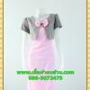 2604เสื้อผ้าคนอ้วน ชุดทำงานคอกลมสีชมพูแต่งกั๊กลายตารางสไตล์เกาหลีสวมใส่ทำงานน่ารักสะดุดตาให้เลือกสวมใส่ทำงาน