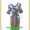 3019ชุดทํางาน เสื้อผ้าคนอ้วนผ้าชีฟองลายเสือโดดเด่นสะดุดตาแขนทรงระฆังคอวีระบายรอบ สวมใส่สบายหรูหราอลังการเลือกใส่เป็นชุดออกงานเลิศหรู